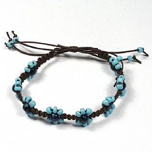 Handmade Macrame Flower Adjustable Blue Bead Surf Anklet with Waxed Cotton Cord