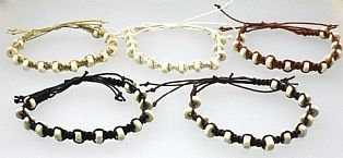 Handmade Flat Ivory Wooden Bead Adjustable Bracelet