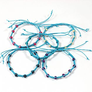 Tribal Surfer Turquoise Macrame and Wooden Bead Wristband Bracelet
