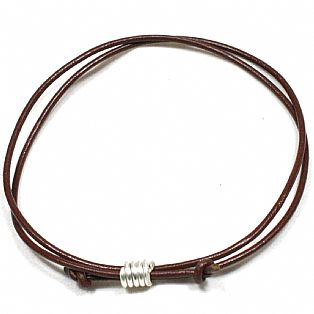 Solid Silver Spiral and Leather Cord Anklet