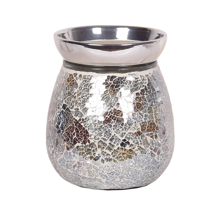 Gold and Silver Crackle Electric Wax Warmer/Burner with pack of 10 Scented Melts (3143)