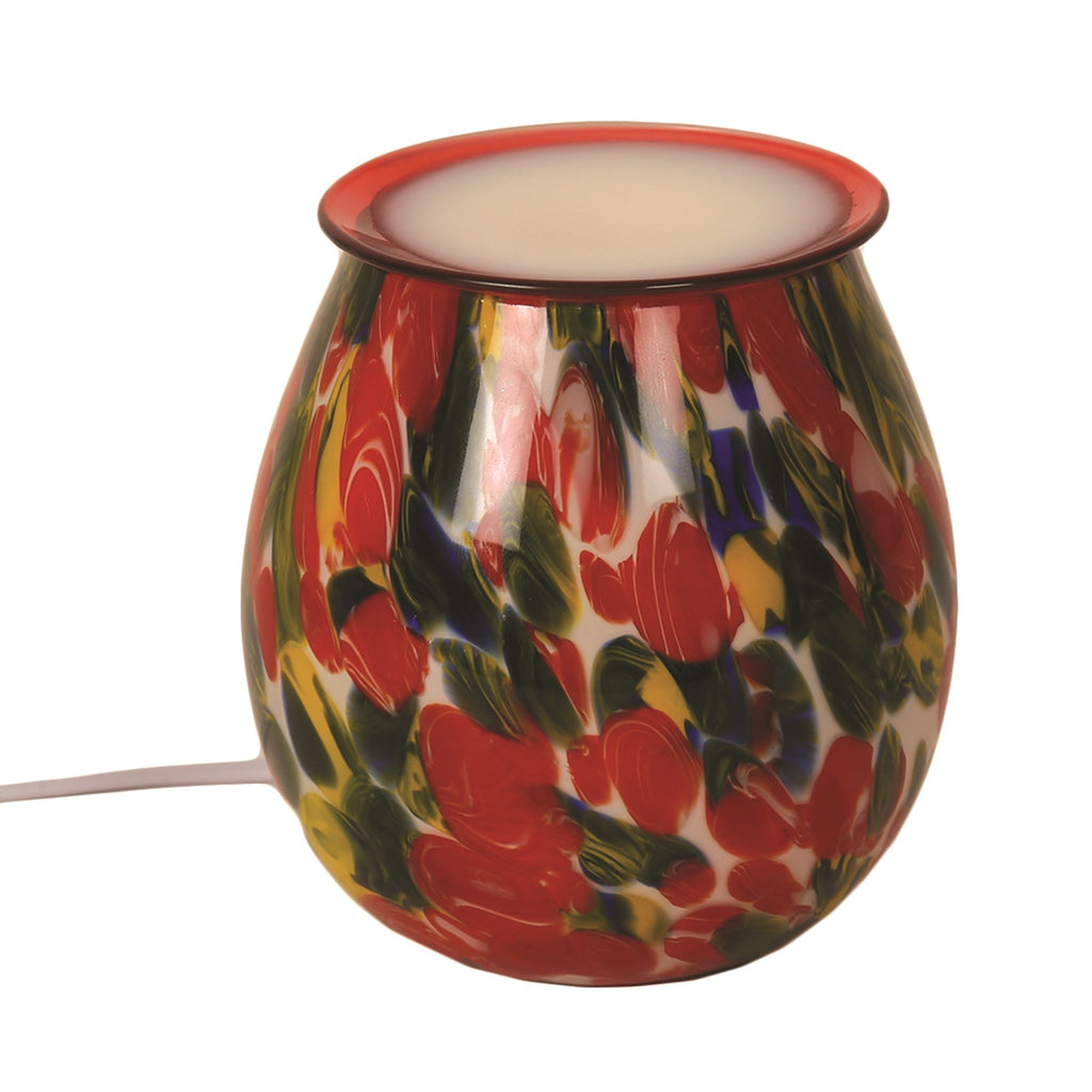 Red Flower Art Glass Electric Wax Warmer/Burner with pack of 10 Scented Melts (3081)