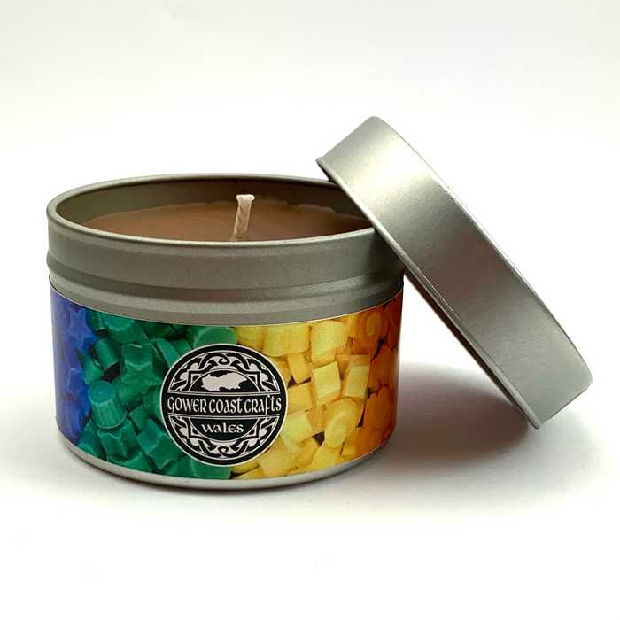 Leather Handpoured Highly Scented Candle Tin