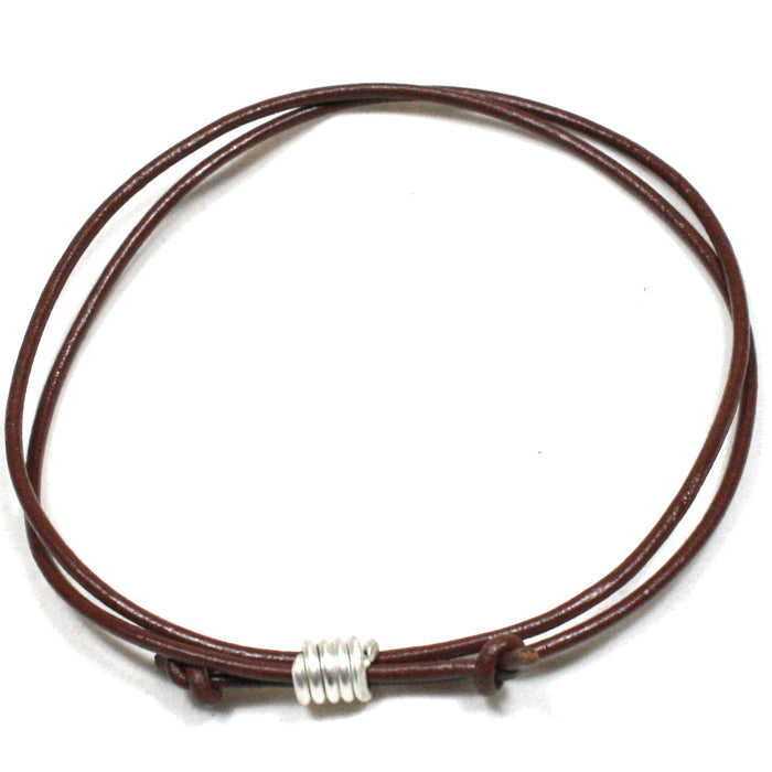 Solid Silver Spiral and Leather Cord Wristband / Bracelet