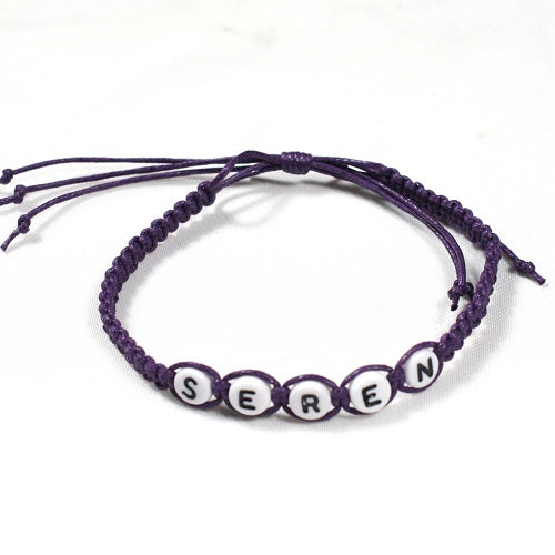Personalised Handmade Adjustable Cotton Macrame Bracelet, Any Name or Slogan