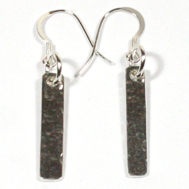 Solid Silver 925 Handmade Hammered Finish Drop Earrings