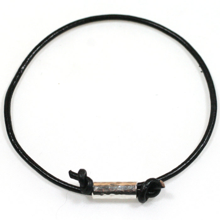 Solid Silver Hammered Tube and Leather Cord Anklet