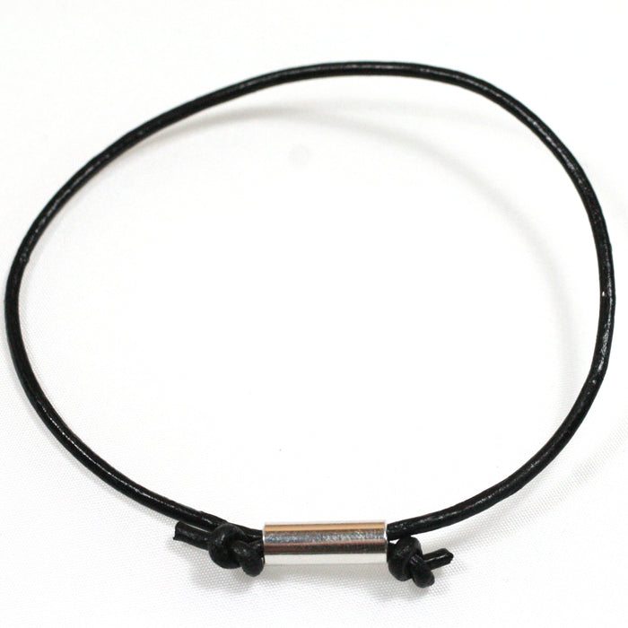 Solid Silver Tube and Leather Cord Anklet