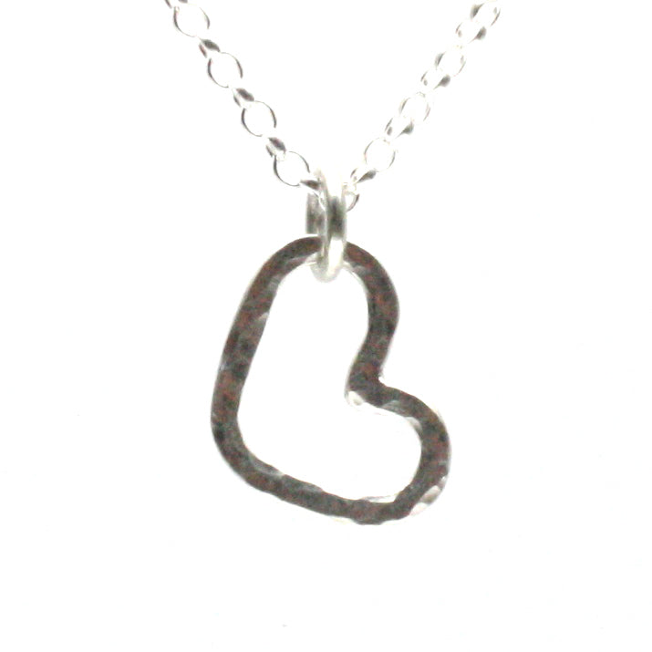 Solid Silver Hammered Heart Necklace