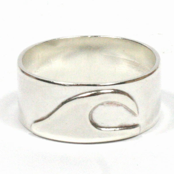 08ab0b9953996 Buy Handmade Chunky Wide 10mm Solid Silver 925 Wave Ring Hallmarked by  Gower Coast Crafts for only £30.00
