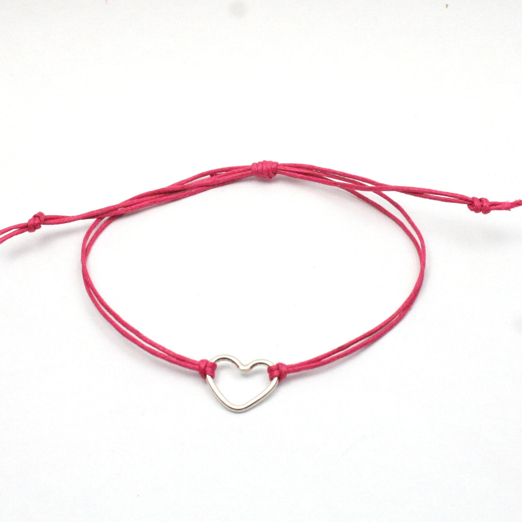 Solid Silver 925 Handmade Heart Charm and Cotton Cord Wristband / Bracelet