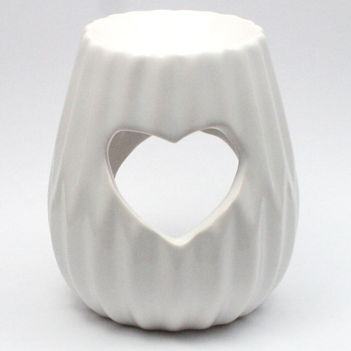 White Cut Out Heart Wax Warmer/Burner with pack of 10 Scented Melts