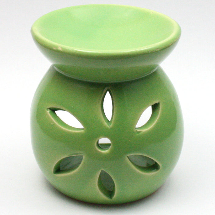 Green Small Flower Wax Warmer/Burner with a pack of 10 FREE Scented Melts