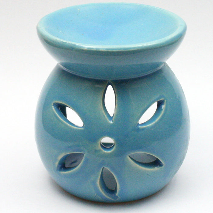 Blue Small Flower Wax Warmer/Burner with a pack of 10 FREE Scented Melts