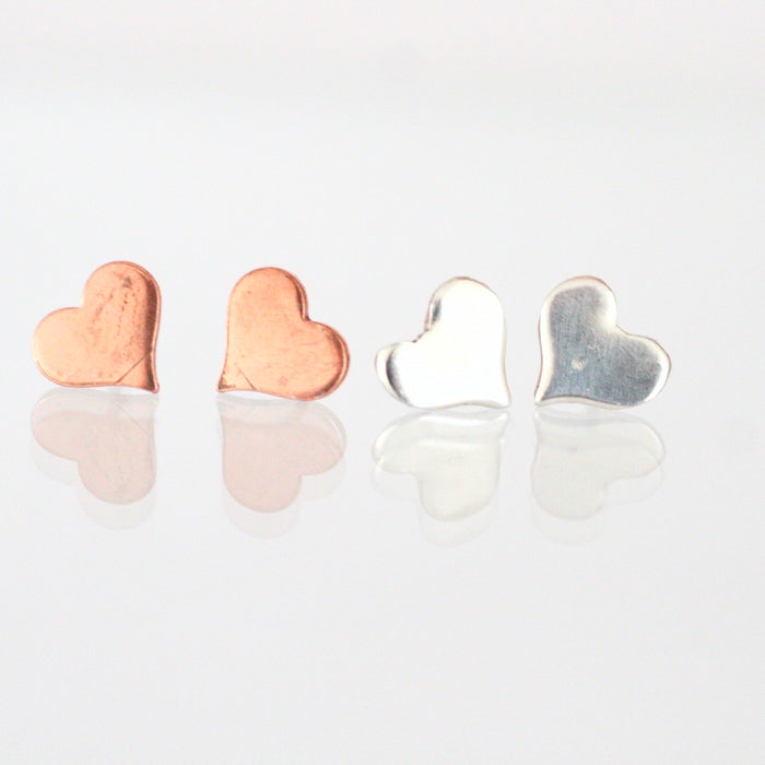 Handmade 925 Solid Silver or Copper Heart Stud Earrings