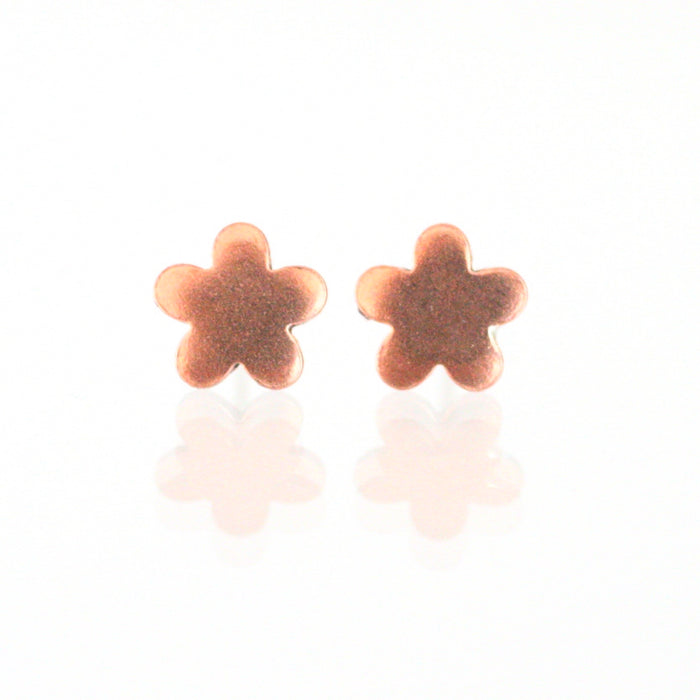 Handmade 925 Solid Silver or Copper Flower Stud Earrings