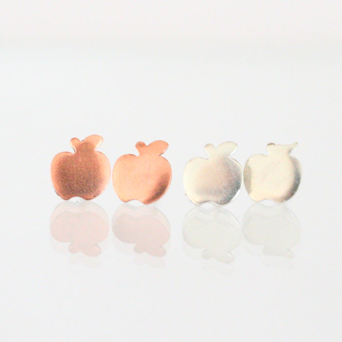 Handmade 925 Solid Silver or Copper Apple Stud Earrings