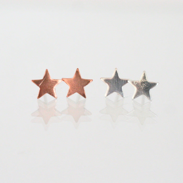 Handmade 925 Solid Silver or Copper Star Stud Earrings