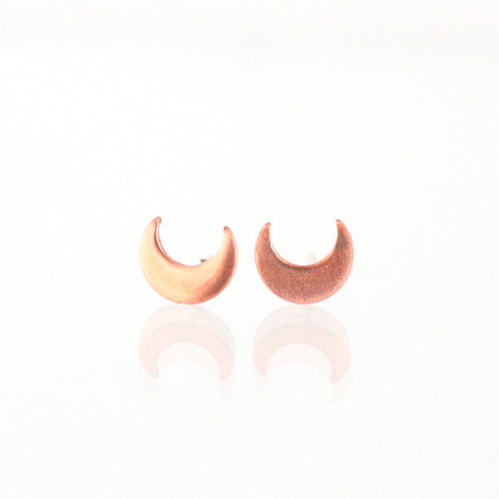 Handmade 925 Solid Silver or Copper Moon Stud Earrings