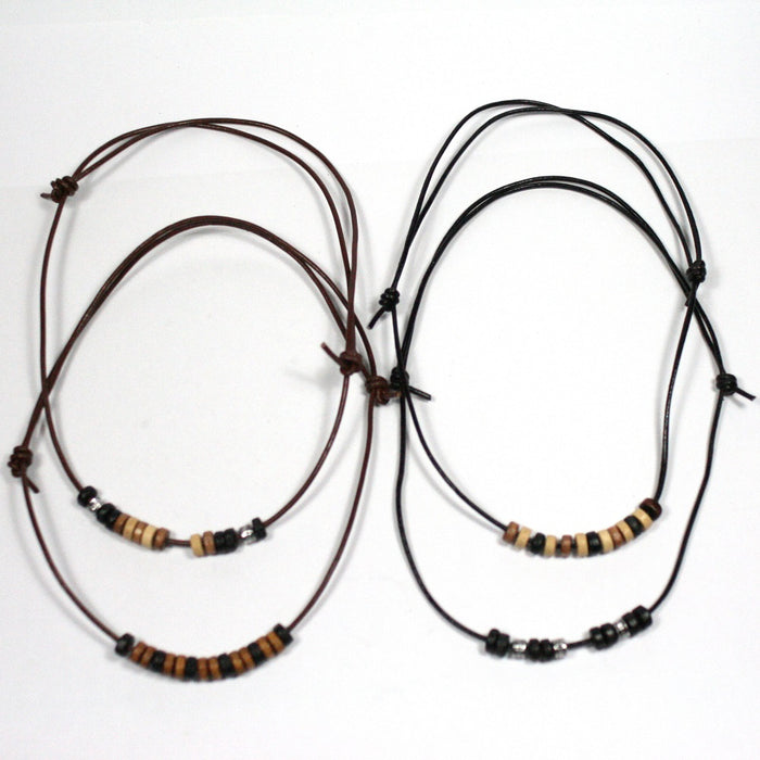 Brown or Black Leather and Bead Adjustable Tribal Surfer Necklace