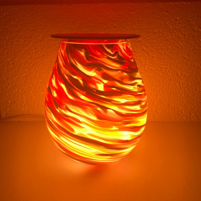 Red Swirl Art Glass Electric Wax Warmer/Burner with pack of 10 Scented Melts (3053)