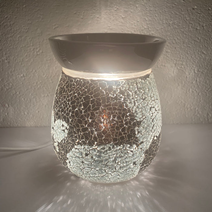 Mirror Silver Crackle Electric Wax Warmer/Burner with a pack of 10 FREE Scented Melts (3085)