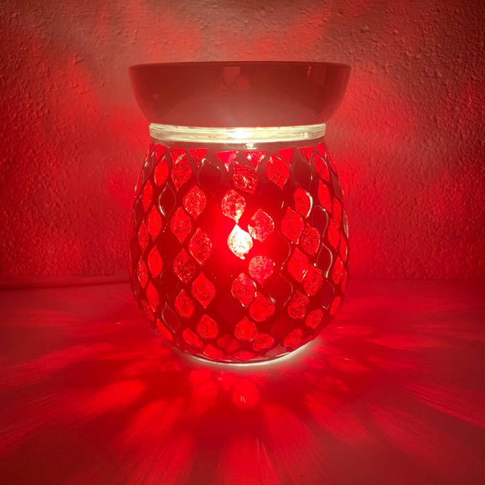 Red Mirror Teardrop Electric Wax Warmer/Burner with pack of 10 Scented Melts (3105)