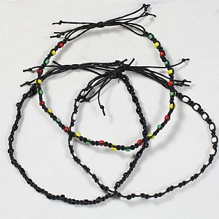 Men's Black Tribal Surfer Handmade Cotton and Bead Macrame Adjustable Anklet