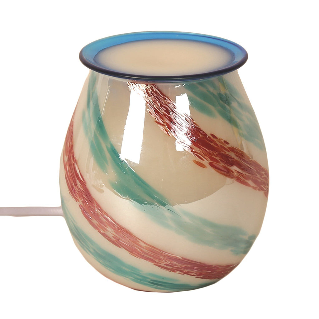 Striped Art Glass Electric Wax Warmer/Burner with a pack of 10 FREE Scented Melts (3027)
