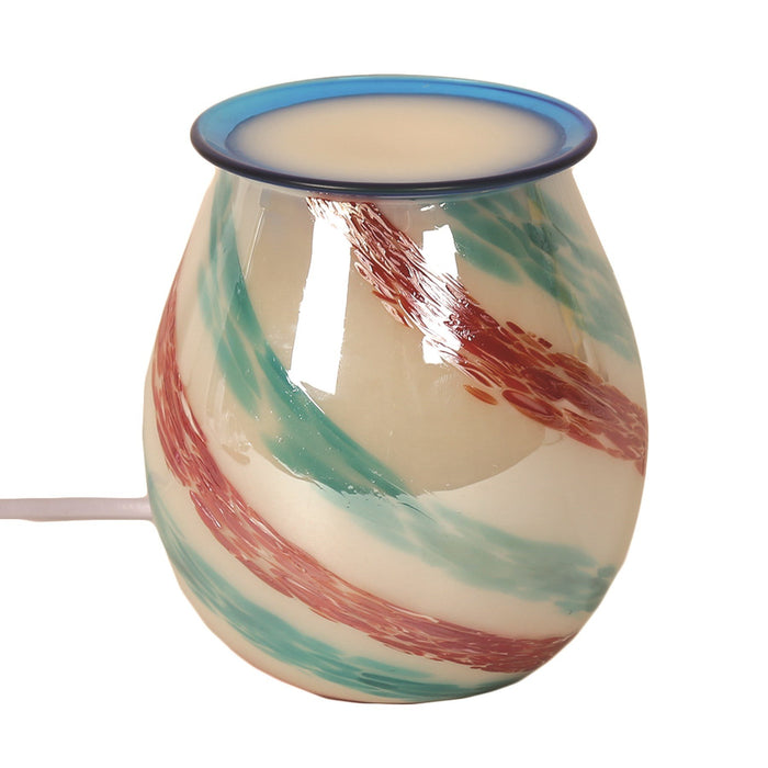 Striped Art Glass Electric Wax Warmer/Burner with pack of 10 Scented Melts (3027)