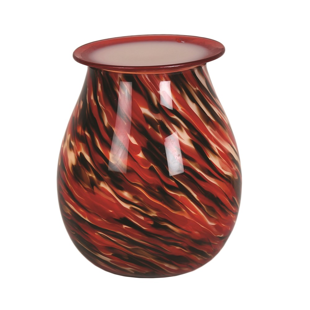Red Swirl Art Glass Electric Wax Warmer/Burner with pack of 10 Scented Melts