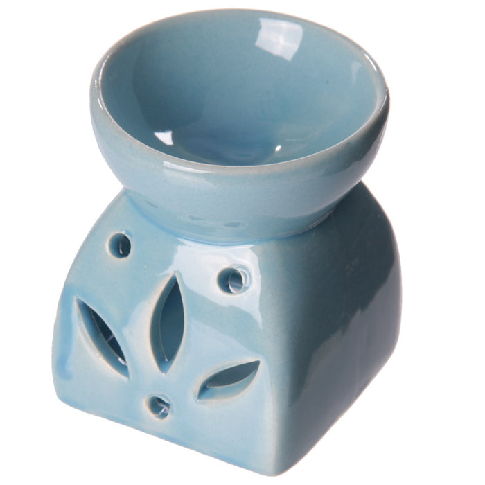 Square Flower Blue Wax Warmer/Burner with pack of 10 Scented Melts