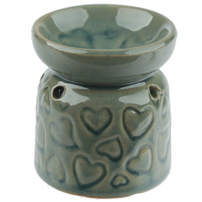Small Blue Hearts Wax Warmer/Burner with pack of 10 Scented Melts