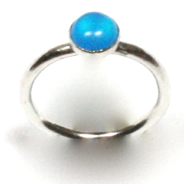 Handmade Solid Silver 925 Blue Agate 1.8mm Stacking Ring