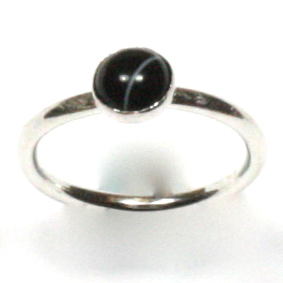 Handmade Solid Silver 925 Black Banded Onyx 1.8mm Stacking Ring