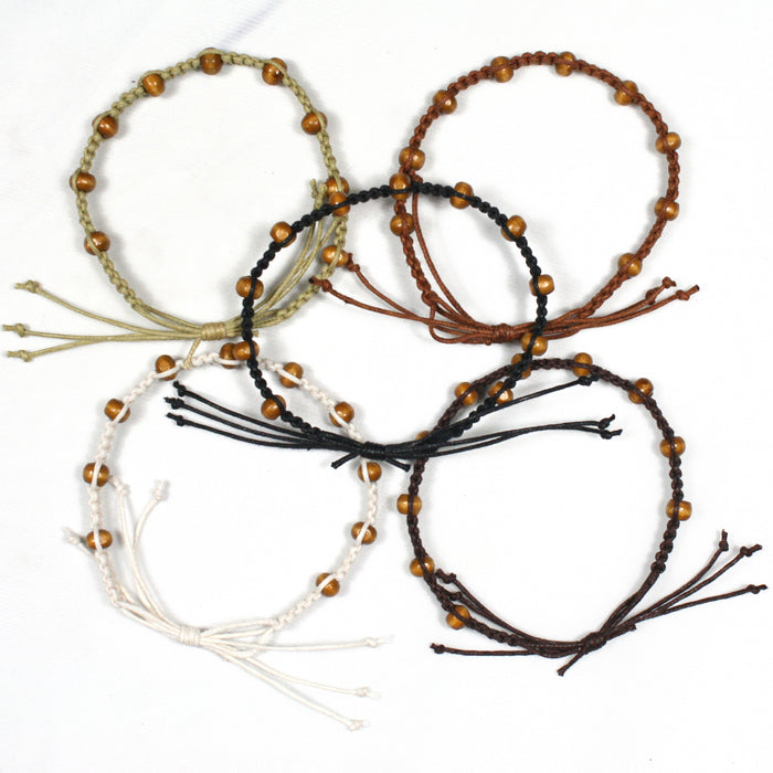 Brown Round Wooden Bead Adjustable Macrame Bracelet