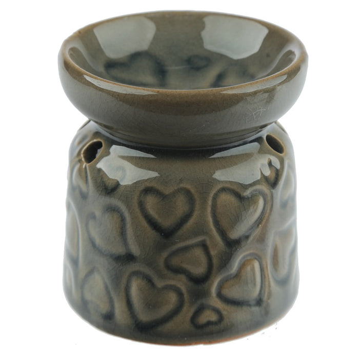 Small Brown Hearts Wax Warmer/Burner with pack of 10 Scented Melts