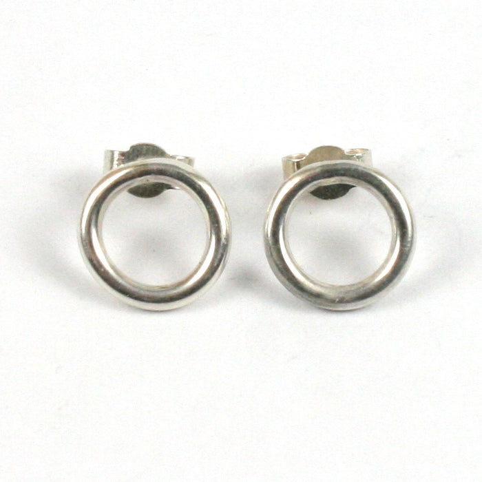 Handmade Solid Silver 925 Circle Stud Earrings