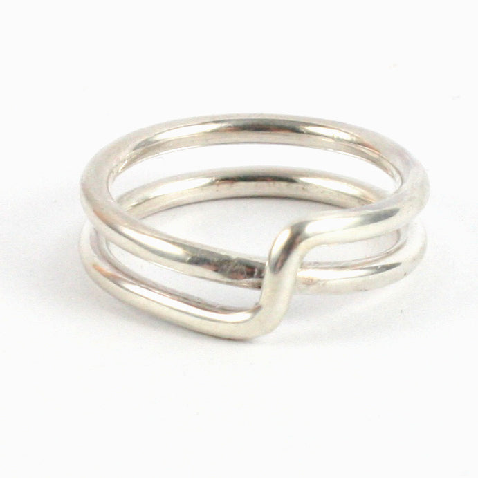 Handmade 1.5mm Solid Silver 925 Crossover Ring