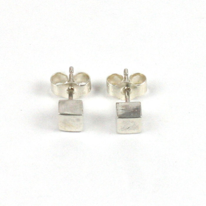 Handmade Solid Silver 925 Cube Stud Earrings