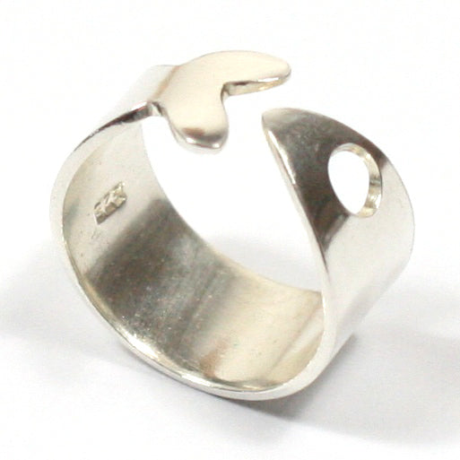 Solid Silver Handmade Chunky 10mm Fish Shaped Wrap Ring
