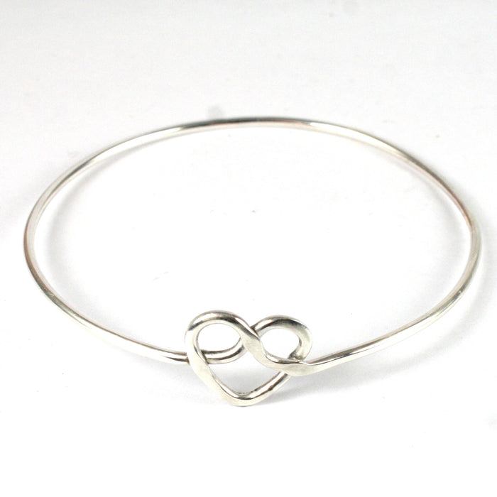 Solid Silver 925 Handmade Fixed Heart Bangle
