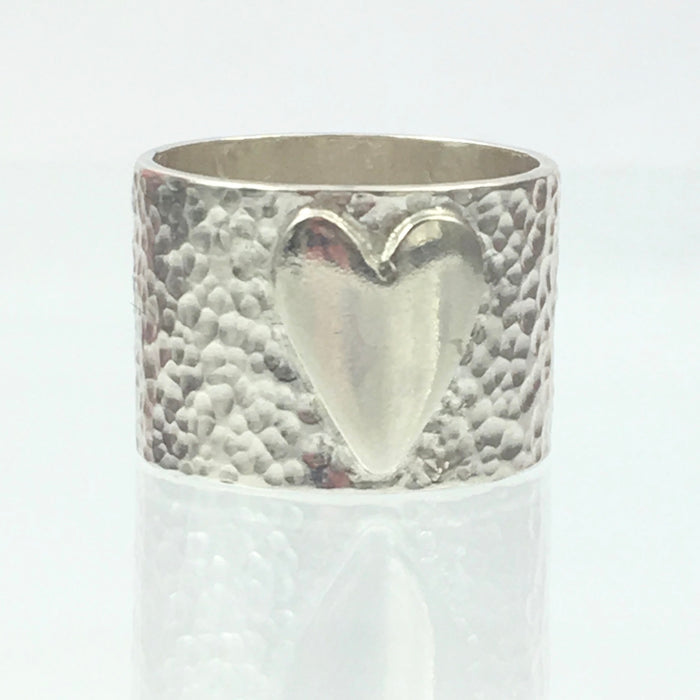 Handmade Chunky Fine Hammered 13mm Solid Silver 925 Band Ring with a Heart Hallmarked