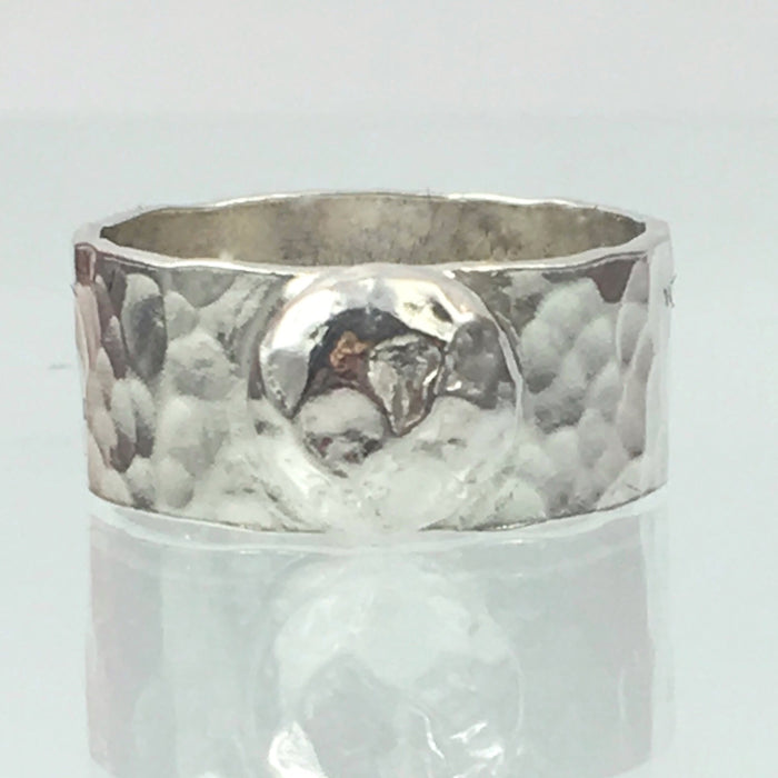 Handmade Chunky Hammered Wide 8mm Solid Silver 925 Band Ring with a Solid Silver Hammered Blob Hallmarked
