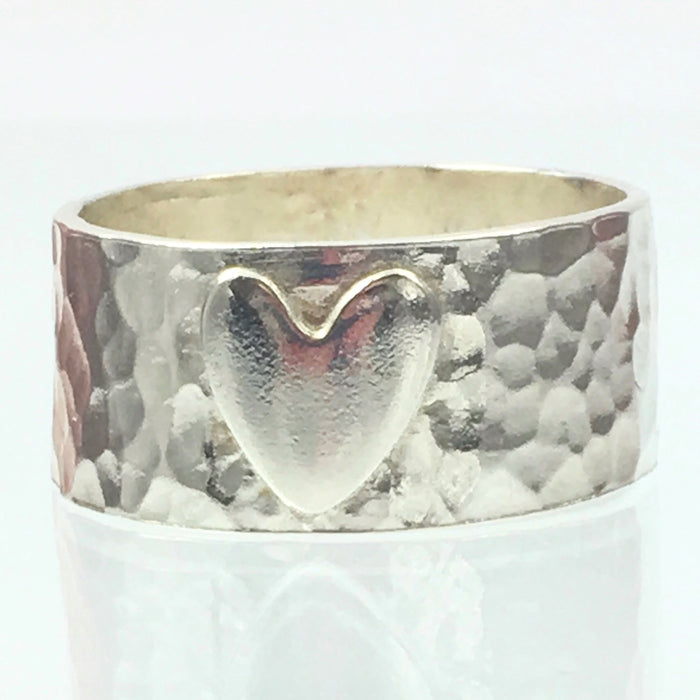 Handmade Chunky Hammered 10mm Solid Silver 925 Band Ring with a Heart Hallmarked