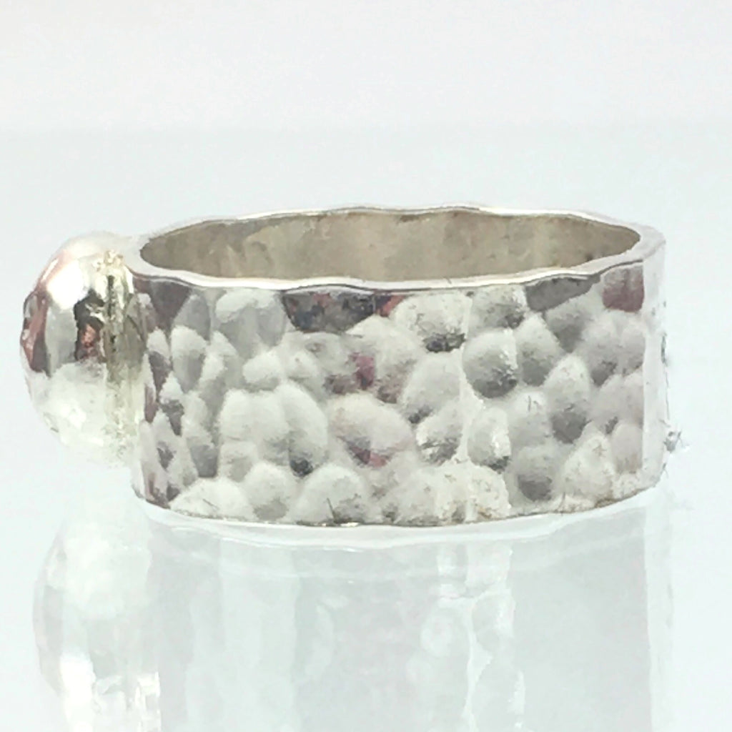 Handmade Chunky Hammered Wide 8mm Solid Silver 925 Ring with a Solid Silver Hammered Blob Hallmarked