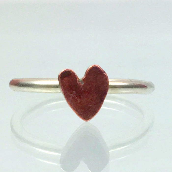 Handmade Solid Silver 925 1.8mm Stacking Ring with Copper Heart