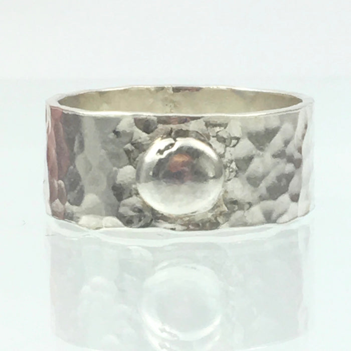 Handmade Chunky Hammered Wide 8mm Solid Silver 925 Band Ring with a Solid Silver Blob Hallmarked