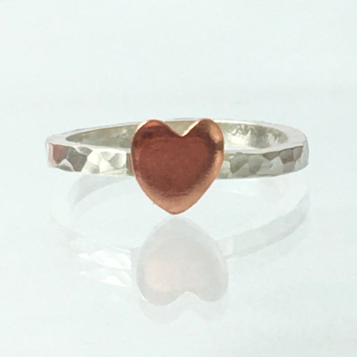Handmade Solid Silver 925 2mm Square Hammered Stacking Ring with Copper Heart