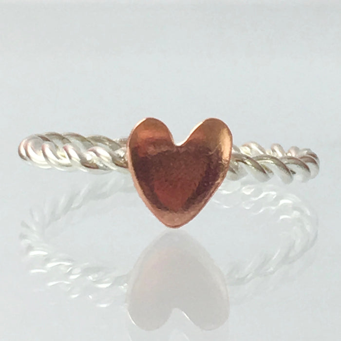 Handmade Solid Silver 925 Spiral Stacking Ring with Copper Heart